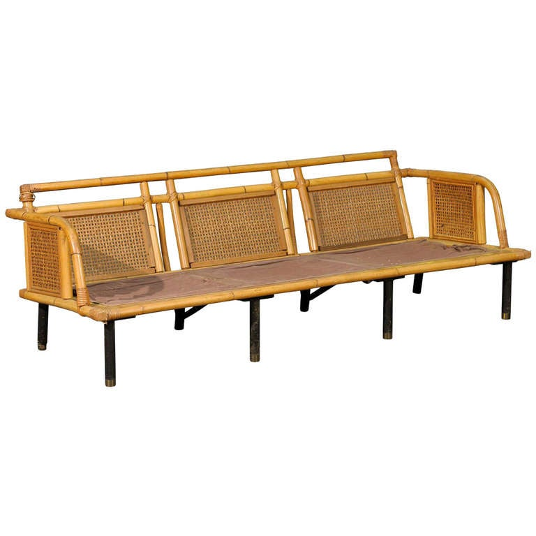 Unique Modern Rattan And Cane Sofa By Ficks Reed At 1stdibs