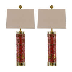 Fantastic Pair of Vintage Enamel and Brass Lamps