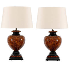 Pair of Italian Faux Tortoise and Black Lacquer Lamps