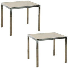 Pair of Caned Top and Chrome Base Side Tables with Glass Tops