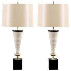 Magnificent Pair of Sculptural Cone Ceramic Lamps by Rembrandt