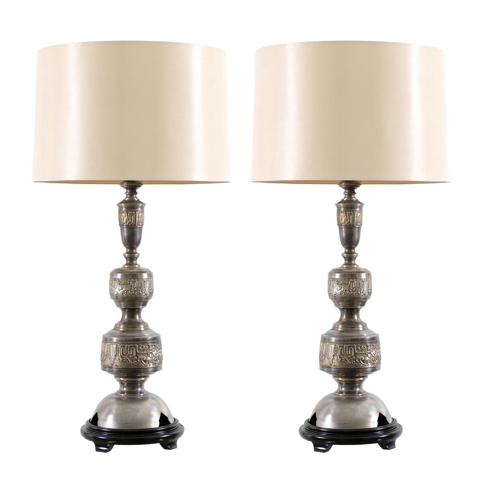 Majestic Pair of Pewter and Brass Marbro Lamps