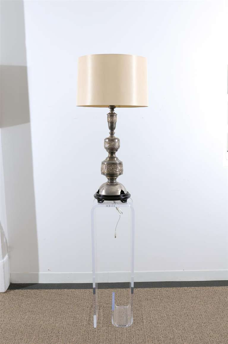Mid-Century Modern Majestic Pair of Pewter and Brass Marbro Lamps For Sale