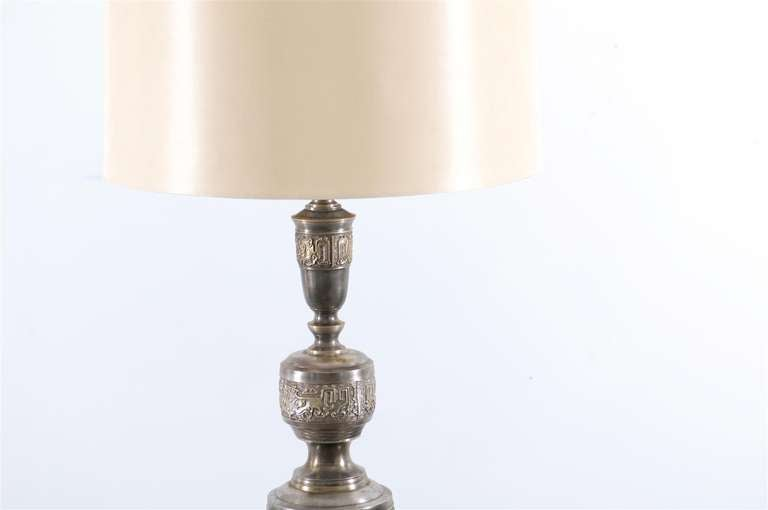 Majestic Pair of Pewter and Brass Marbro Lamps For Sale 1
