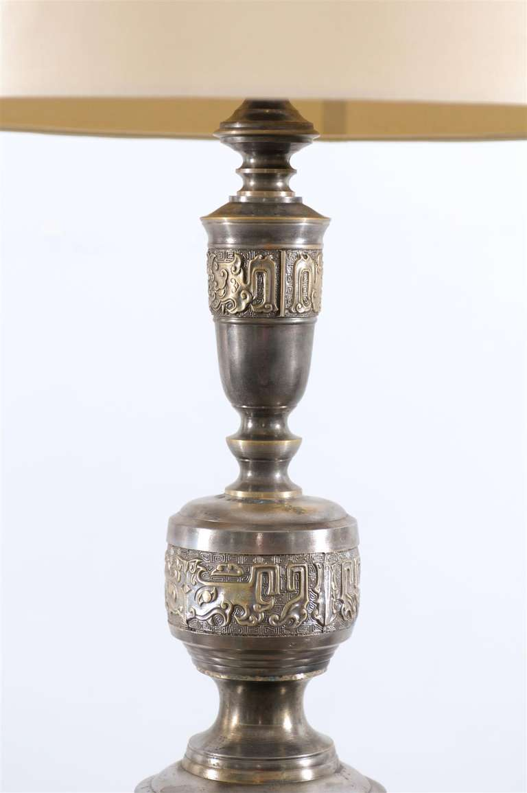 Majestic Pair of Pewter and Brass Marbro Lamps In Excellent Condition For Sale In Atlanta, GA