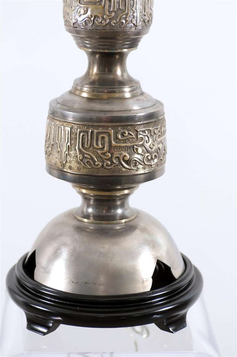 Majestic Pair of Pewter and Brass Marbro Lamps For Sale 3