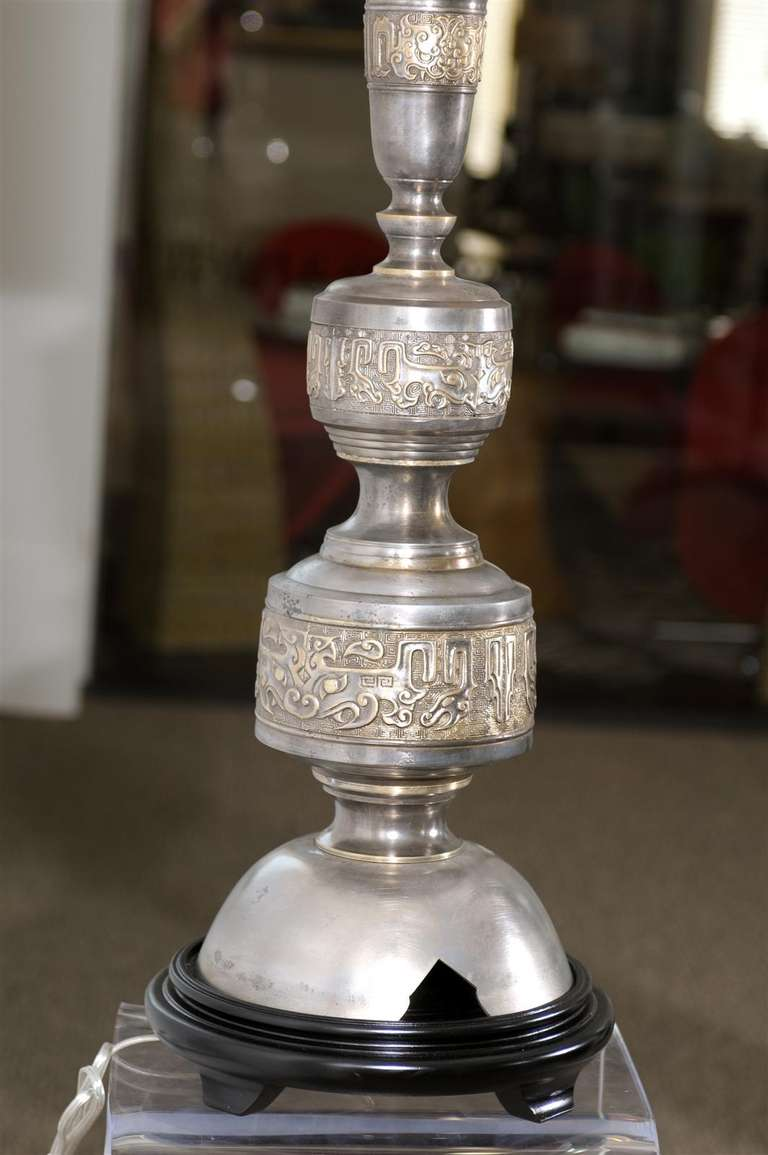 Majestic Pair of Pewter and Brass Marbro Lamps For Sale 4