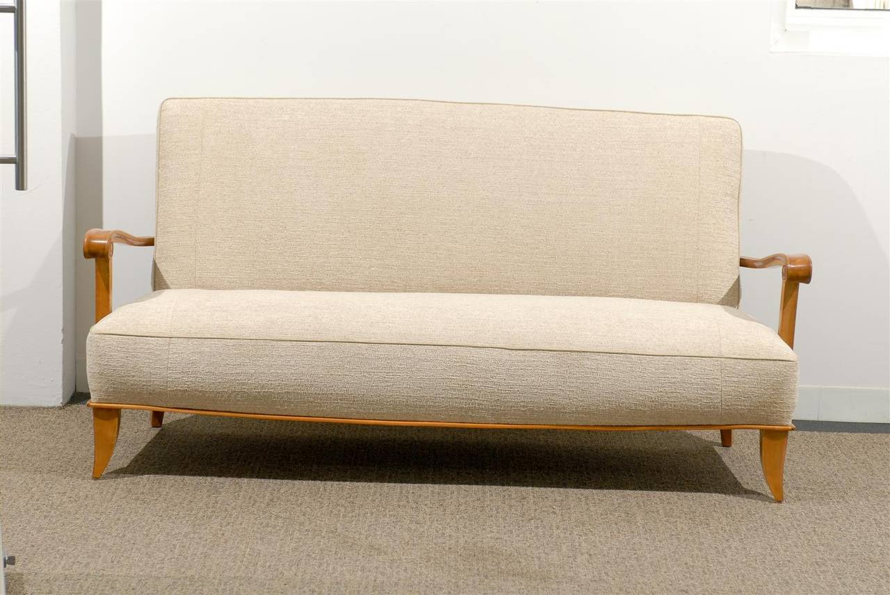 Open arm french settee canap in chenille texture for sale for Canape in french