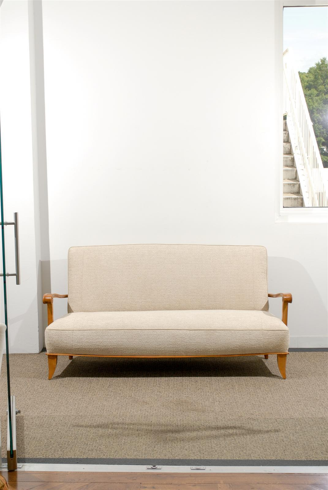 Mid-Century Modern Open Arm French Settee/Canapé in Chenille Texture For Sale