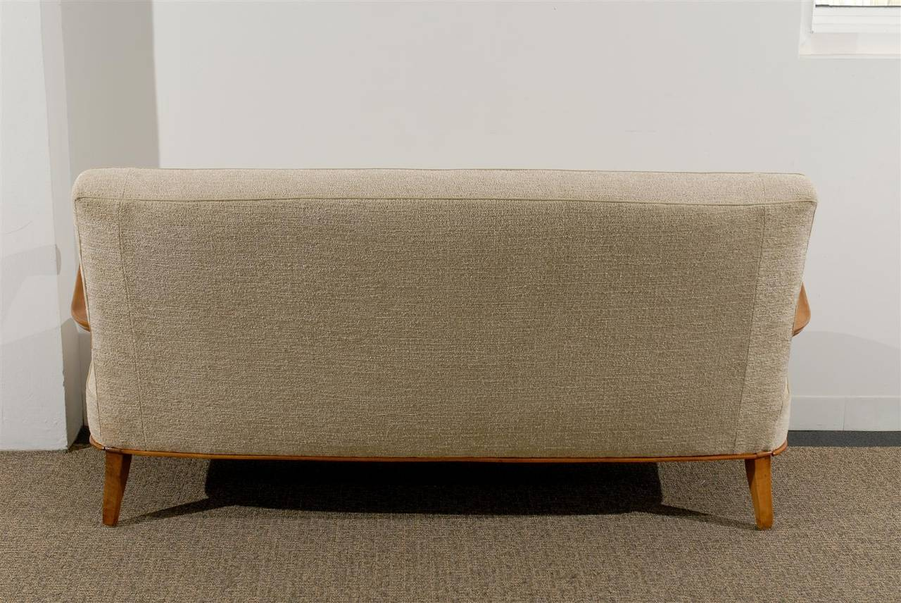 20th Century Open Arm French Settee/Canapé in Chenille Texture For Sale
