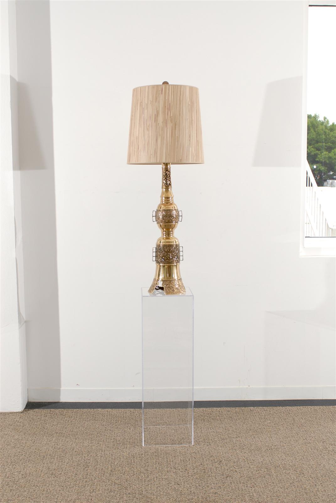 Mid-Century Modern Pair of Asian Brass Lamps in the John Mont Style For Sale