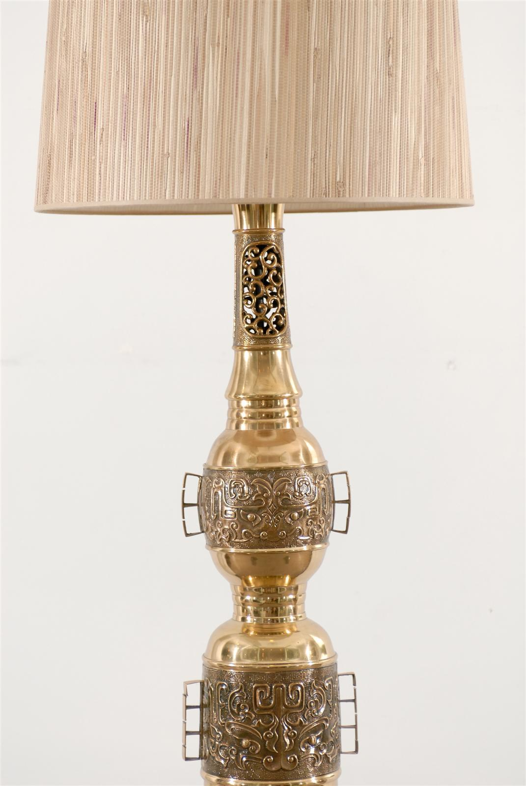 Pair of Asian Brass Lamps in the John Mont Style For Sale 2