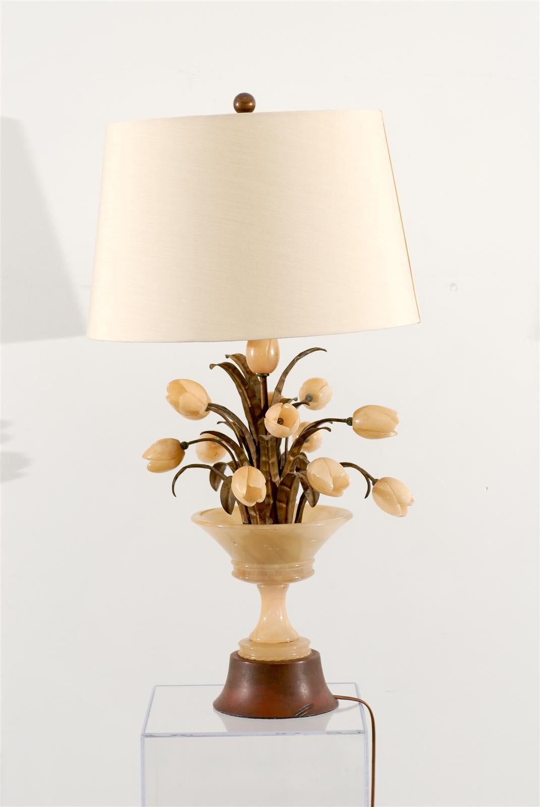 Alabaster Lamp With Tulips At 1stdibs