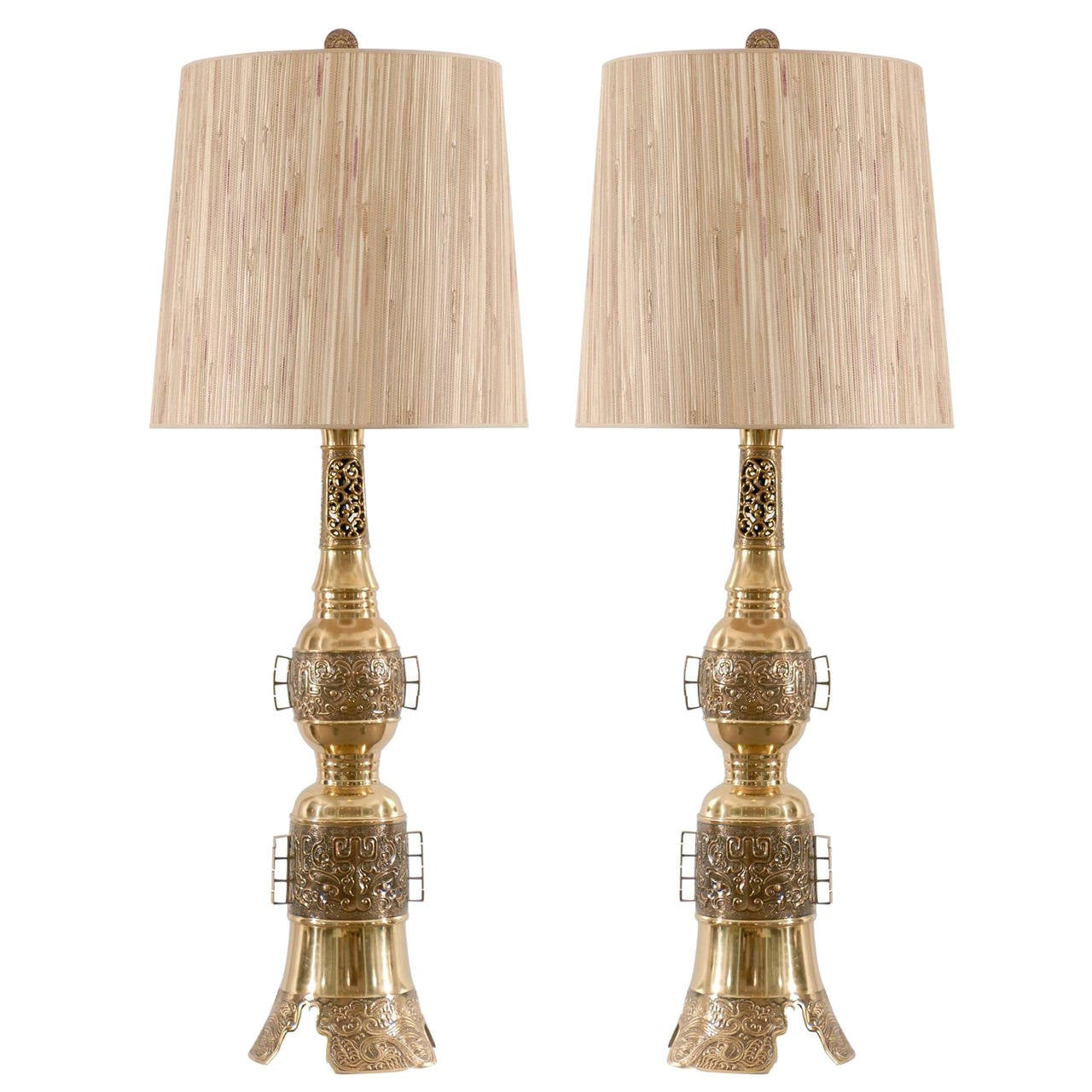 Pair of Asian Brass Lamps in the John Mont Style