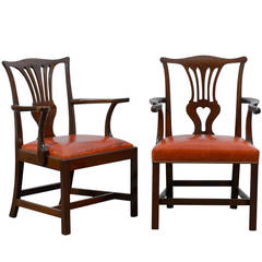 Working Pair of Chippendale Armchairs in Mahogany