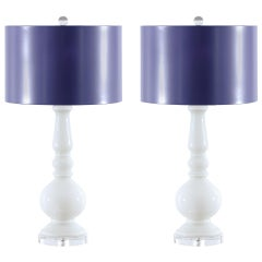 Stellar Pair of Pure White Murano Lamps with Lacquer Shades