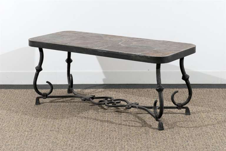 Coffee table with inlaid slate top at 1stdibs Slate top coffee tables