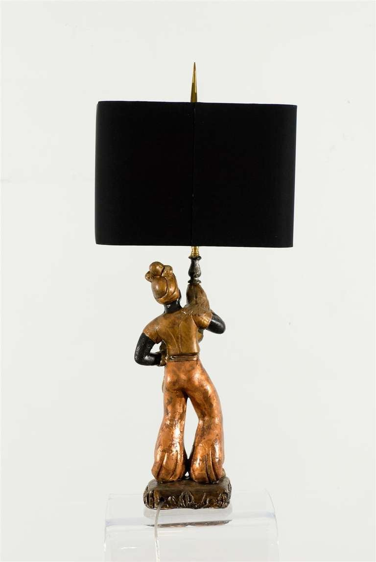 Striking Pair of Hand-Painted Plaster Blackamoor Lamps at 1stdibs