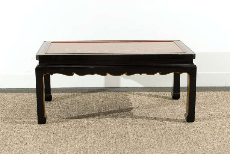 Black Lacquered Chinese Style Coffee Table With Red Chinnoiserie Panel Top At 1stdibs