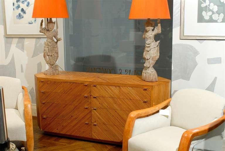 Fabulous Restored Vintage Split Bamboo Ten Drawer Chest For Sale 4