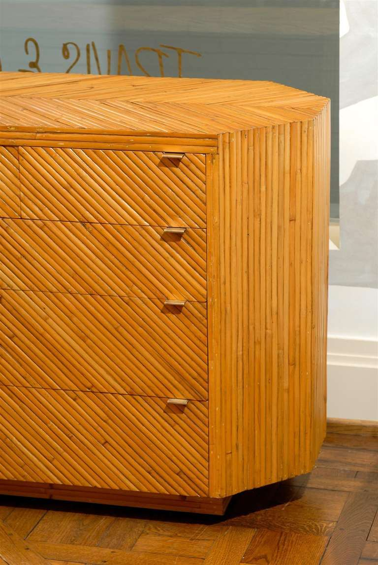 Late 20th Century Fabulous Restored Vintage Split Bamboo Ten Drawer Chest For Sale