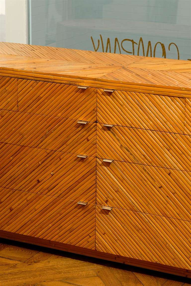 Unknown Fabulous Restored Vintage Split Bamboo Ten Drawer Chest For Sale