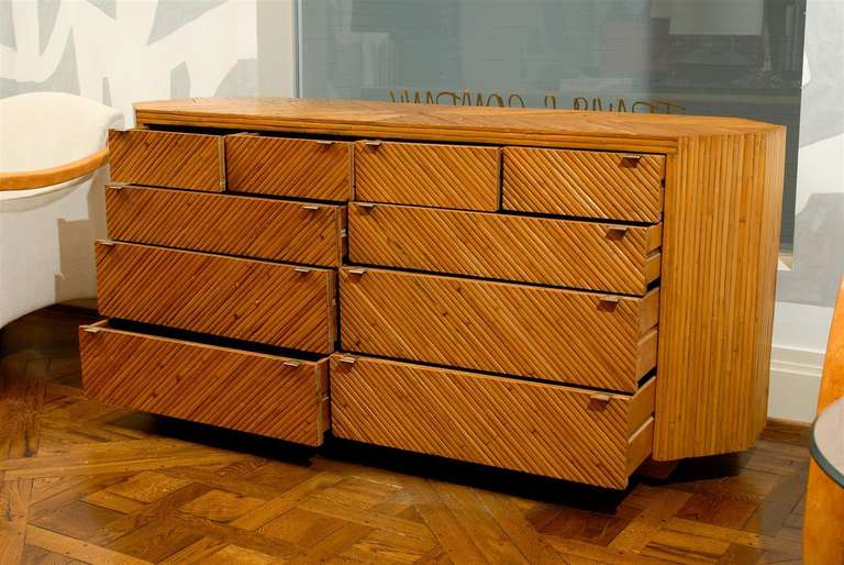 Fabulous Restored Vintage Split Bamboo Ten Drawer Chest In Excellent Condition For Sale In Atlanta, GA