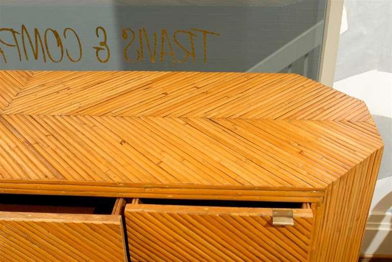 Fabulous Restored Vintage Split Bamboo Ten Drawer Chest For Sale 1