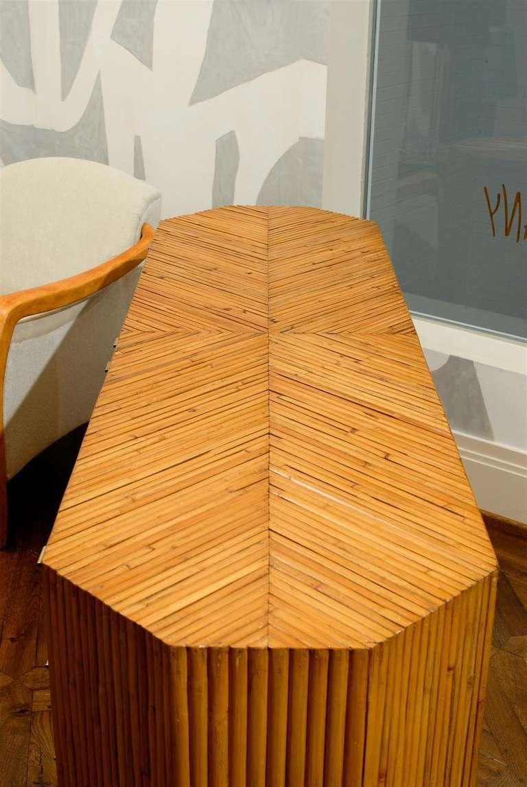 Fabulous Restored Vintage Split Bamboo Ten Drawer Chest For Sale 3