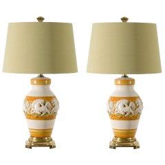 Fabulous Restored Pair of Vintage Italian Ceramic Ginger Jar Lamps