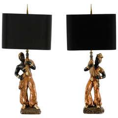 Striking Pair of Hand-Painted Plaster Blackamoor Lamps