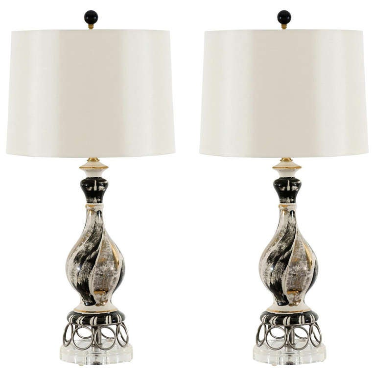 Exquisite Pair of Vintage Ceramic Lamps in Black, Silver and Gold