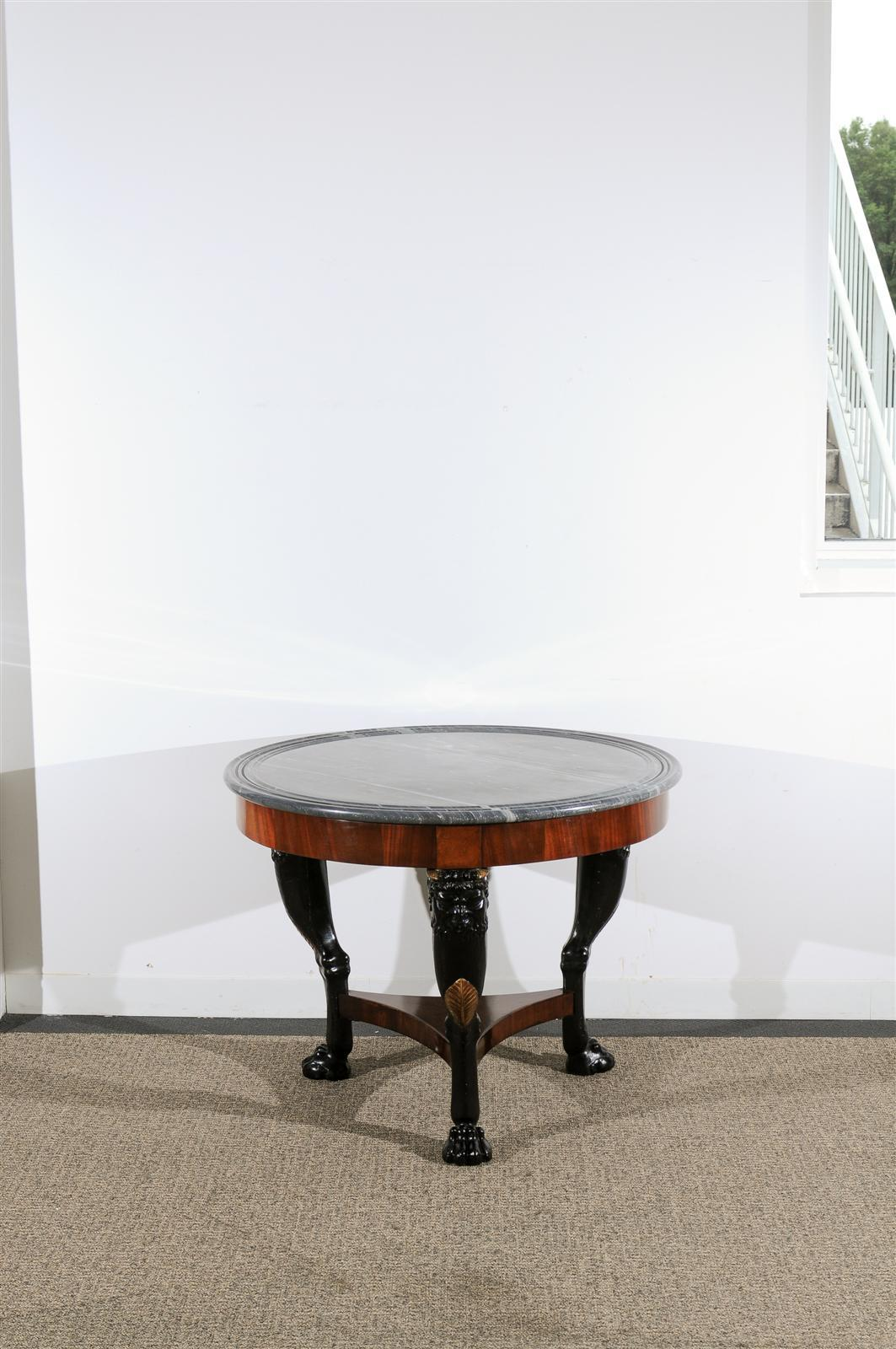 Carved 19th Century Empire Center Table For Sale