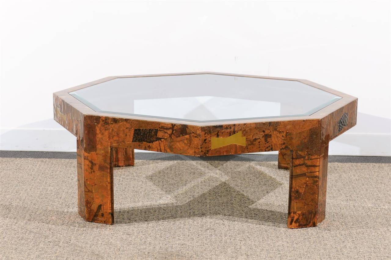 Stunning 1970s Octagonal Coffee Table With Beveled Glass Top Lacquered  Finish Over Hammered Brass And Copper