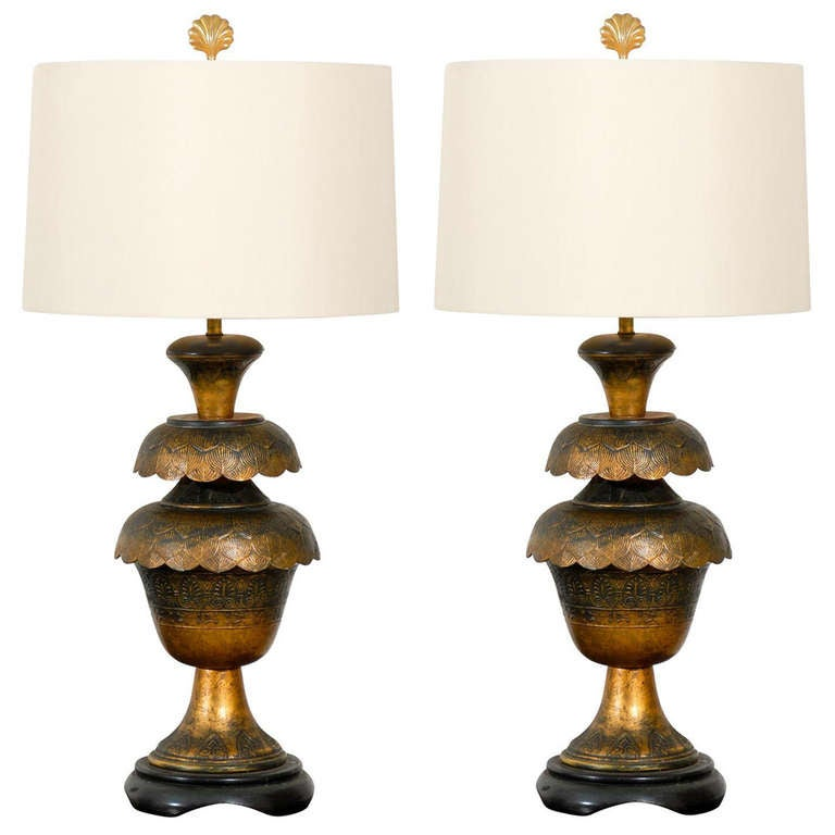 Magnificent Pair of Monumental Brass Lotus Lamps