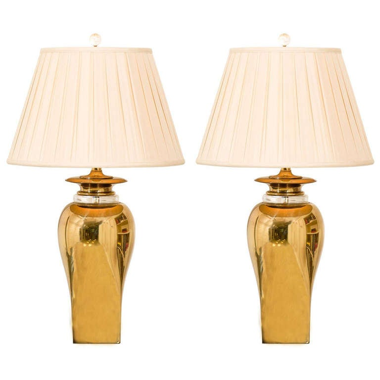 marvelous pair of modern ginger jar lamps in brass at 1stdibs. Black Bedroom Furniture Sets. Home Design Ideas