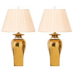 Marvelous Pair of Modern Ginger Jar Lamps in Brass