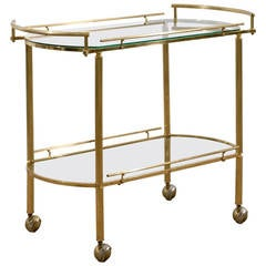 Mid-Centruy Modern Brass and Glass Tea Cart or Bar