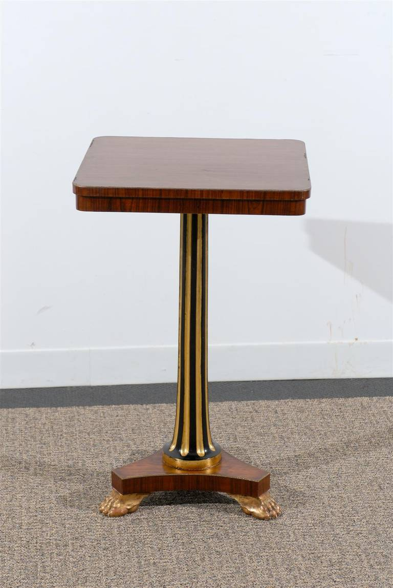 Regency Style Pedestal Side Table in Rosewood In Excellent Condition For Sale In Atlanta, GA