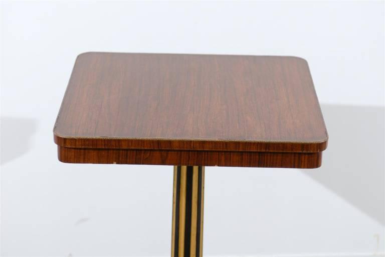 Brass Regency Style Pedestal Side Table in Rosewood For Sale