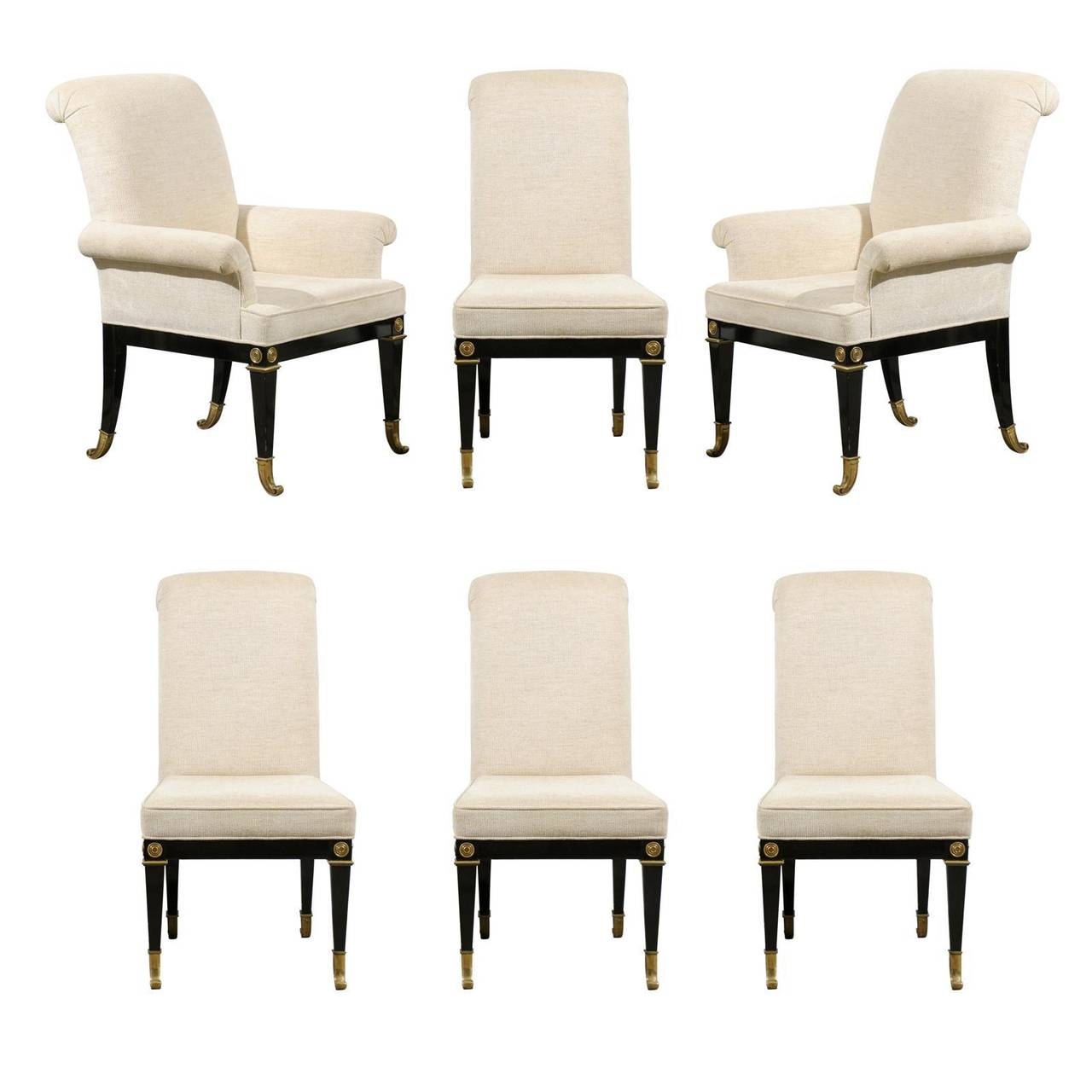 Black Lacquer Dining Room Chairs: Set Of Six Dining Chairs By Master Craft In Black Lacquer