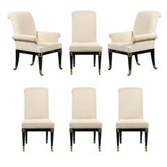 Set of Six Dining Chairs by Master Craft in Black Lacquer