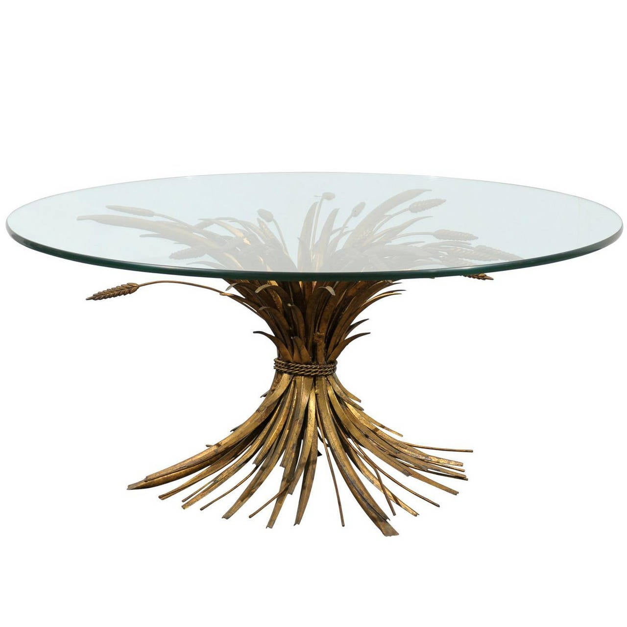 Gilded Iron And Tole Wheat Round Coffee Table At 1stdibs