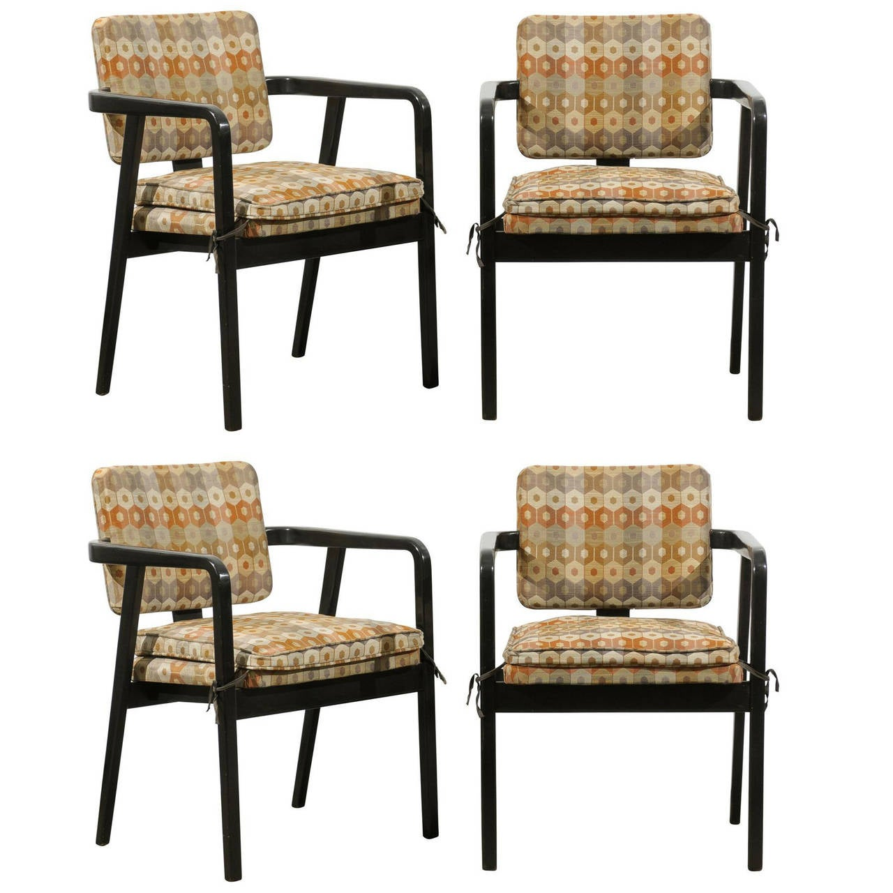 Set of Four Black Painted Chairs Designed by George Nelson