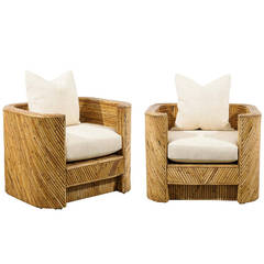 Pair of Split Bamboo Chairs