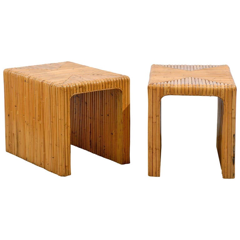 Gorgeous Pair of Split Bamboo End Tables