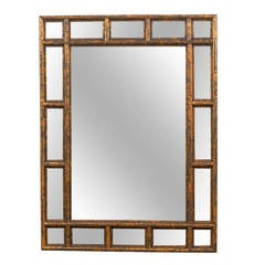 Gilded Faux bamboo carved wood mirror
