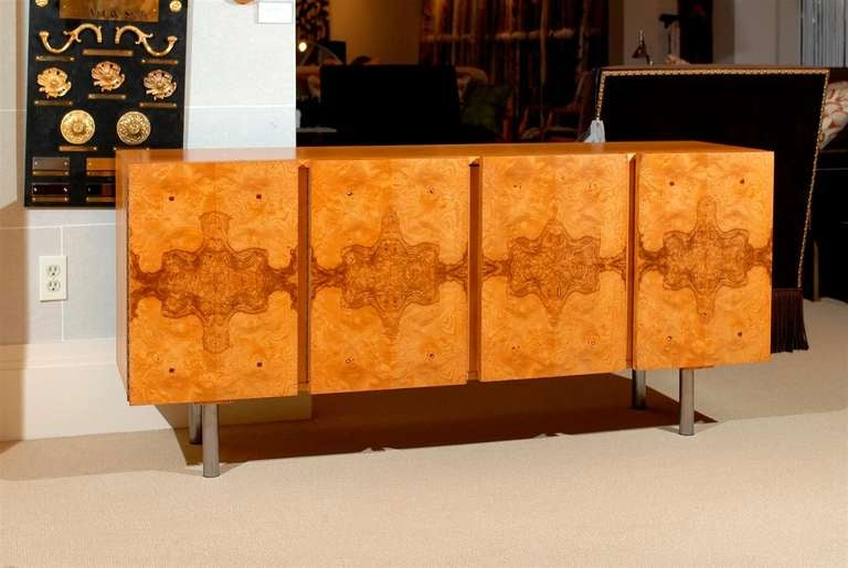 Handsome Milo Baughman Style Cabinet/Credenza In Olive Wood At 1stdibs