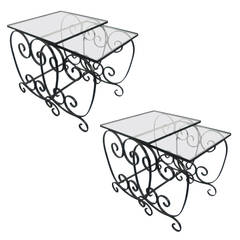 Pair Of French Wrought Iron Nest Of Tables