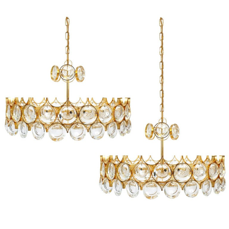 Pair of Beautiful Gold Plated Brass and Glass Chandeliers Lamps, Palwa 1960